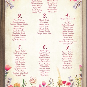 Ültetési rend, Esküvői ültetésirend, Ültetők, Ültetésrend, Esküvő dekor, Esküvő ültető kártya, Party, Esküvő, Ültetési rend, Meghívó & Kártya, Esküvői Ültetési rend A2 virágos Designal akár 17 asztalig is. (kb.200fő)  Gyönyörű Igényes Esküvői ..., Meska
