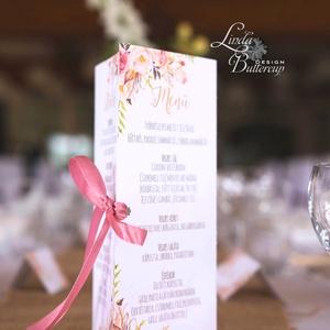 Mályva Virágos Menü, Asztalszám, Rózsás Virágos Esküvői lap, Esküvői menü, rózsaszín menü, Party menü, mályva, rózsa,, Esküvő, Menü, Meghívó & Kártya, Esküvői Virágos Álló Háromszög Menü Szalaggal    Gyönyörű Igényes Esküvői Menükártya  3szög forma, 1..., Meska