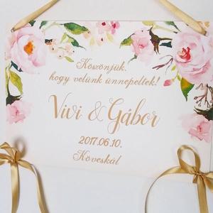 Esküvői Dekoráció, Esküvői felirat A4, dekor, Felirat, Poszter, romantikus, Esküvő, Vintage, Rusztikus, tábla, Esküvő, Esküvői dekoráció, Nászajándék, Dekoráció, Otthon & lakás, Fotó, grafika, rajz, illusztráció, Papírművészet, Esküvői Dekoráció, A4-es nyomtatott lap, szalaggal kötve, a pár nevével, virág Designal, passzoló sz..., Meska