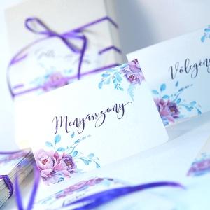Esküvői ültetőkártya, meghívó, rózsa lap, rózsaszín Esküvői ültető, Esküvő Képeslap, virágos lap, (LindaButtercup) - Meska.hu