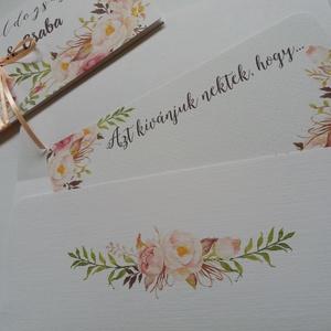 Nászajándék, Kiegészítő kártya Pénzátadó Borítékhoz,  vintage esküvő, party kártya, azt kívánjuk nektek hogy (LindaButtercup) - Meska.hu
