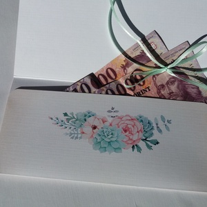 Pénzátadó boríték, Kövirózsa, Nászajándék, Gratulálunk képeslap, Esküvői Gratuláció, pasztell, pénz átadó lap, púder, (LindaButtercup) - Meska.hu