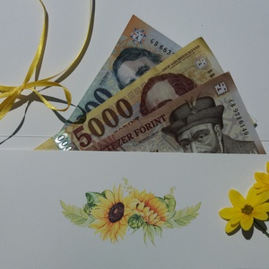 Pénzátadó boríték, Napraforgó, Nászajándék, Gratulálunk képeslap, Esküvői Gratuláció, zöld, rét, pénz átadó lap, sárga, (LindaButtercup) - Meska.hu