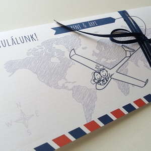 Pénzátadó boríték, travel, utazás, repülő, út,  Nászajándék, Gratulálunk képeslap, Esküvői Gratuláció, pénz átadó lap, (LindaButtercup) - Meska.hu