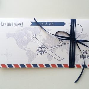 Pénzátadó boríték, travel, utazás, repülő, út,  Nászajándék, Gratulálunk képeslap, Esküvői Gratuláció, pénz átadó lap,, Nászajándék, Emlék & Ajándék, Esküvő, Fotó, grafika, rajz, illusztráció, Papírművészet, Igényes Egyedi Személyre szóló Pénz Átadó Zsebes Boríték Szalaggal átkötve.\n\nAdd át nászajándékodat ..., Meska