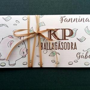 Pénzátadó boríték, Ballagásra, Évzáró, Gratulálunk képeslap, Gratuláció, virágos, pénz átadó lap, malac, érettségi (LindaButtercup) - Meska.hu