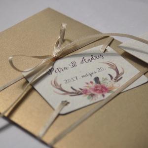 Pénz átadó boríték, Nászajándék, Gratulálunk képeslap, Esküvői Gratuláció, agancsos, agancs, őszi esküvő, ajándék, (LindaButtercup) - Meska.hu