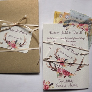 Pénz átadó boríték, Nászajándék, Gratulálunk képeslap, Esküvői Gratuláció, Esküvői pénz lap (LindaButtercup) - Meska.hu