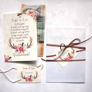 Pénz átadó boríték, Nászajándék, Gratulálunk képeslap, Esküvői Gratuláció, Esküvői pénz lap, Esküvő, Emlék & Ajándék, Nászajándék, Fotó, grafika, rajz, illusztráció, Papírművészet, Igényes Rusztikus Pénz Átadó Képeslap Prémium fényes Borítékkal\n\nAdd át nászajándékodat ezzel a gyön..., Meska