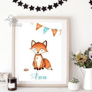 Babaszoba Dekoráció, Róka festmény, Gyerekszoba kép, falikép, erdei állat, rókás, baba, baby, cuki, névre szóló, név (LindaButtercup) - Meska.hu