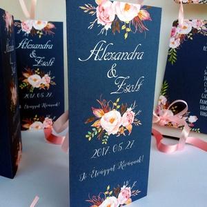 Menü, Asztalszám, Itallap, Rózsás Virágos Esküvői lap, Esküvői menü, rózsaszín menü, Party menü, kék, rózsa, navy blue,  (LindaButtercup) - Meska.hu