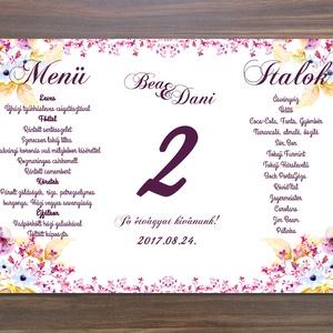 Pink Virágos Menü, Asztalszám, Virágos Esküvői lap, Esküvői menü, rózsaszín menü, Party menü, rózsa, rózsás, mályva, Esküvő, Meghívó, ültetőkártya, köszönőajándék, Esküvői dekoráció, Naptár, képeslap, album, Otthon & lakás, Fotó, grafika, rajz, illusztráció, Papírművészet, Esküvői Virágos Álló Háromszög Menü Szalaggal  \n\nGyönyörű Igényes Esküvői Menükártya \n3szög forma, 1..., Meska