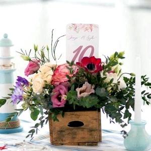 Esküvői Asztalszám, Menü, Itallap, Étlap, Vacsora, Nyári Esküvő, mályva, rózsa, romantikus, Esküvői dekor, Asztal dekor (LindaButtercup) - Meska.hu