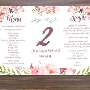 Mályva Virágos Menü, Asztalszám, Rózsás Virágos Esküvői lap, Esküvői menü, rózsaszín menü, Party menü, mályva, rózsa, (LindaButtercup) - Meska.hu