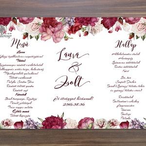 Esküvői Menü, Romantikus Esküvő, Virágos Esküvői lap, Rusztikus, Vintage Esküvő, Virágos, Party menü (LindaButtercup) - Meska.hu