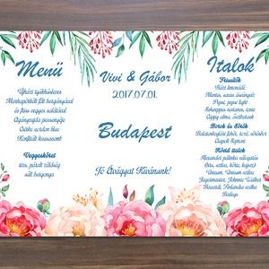 Menü, Asztalszám, Itallap, Étlap, Vacsora, Rózsás Virágos Esküvői lap, Esküvői kártya, rózsaszín, zöld leveles, trópusi, (LindaButtercup) - Meska.hu
