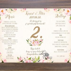 Esküvői Menü, Romantikus Esküvő, Virágos Étlap, Itallap, Italok, Vacsora, rózsa, rózsás, Vintage Esküvő, Party, arany - Meska.hu