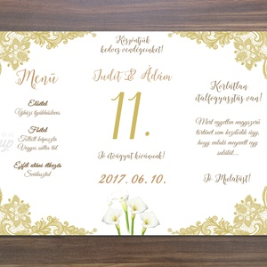 Esküvői Csipkés Menü, Arany, Csipke, Kála, menükártya, itallap, vacsora, étlap, elegáns, kála virág, virágos, Party menü (LindaButtercup) - Meska.hu