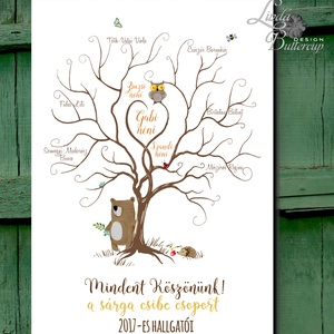 Tanárnak Ujjlenyomatfa, Pedagógus, fa, bagoly, ócoda, tanári, évzáró, ballagás, ajándék, maci, erdei állatok, süni (LindaButtercup) - Meska.hu