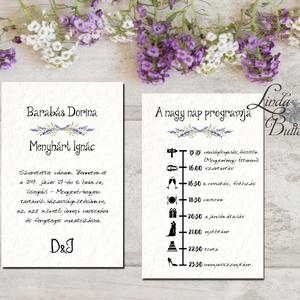 Levendula Esküvői meghívó, Dupla oldalas meghívó, Nyári Esküvő, rusztikus, virágos meghívó, levendulás, lila, natúr (LindaButtercup) - Meska.hu