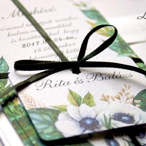 Erdei Esküvői meghívó, Natúr Esküvő, Rusztikus meghívó, erdei virágos, vad virág, Bohém, zöld, fehér, zöld levelek, erdő (LindaButtercup) - Meska.hu