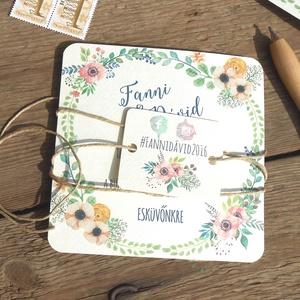 Rusztikus Esküvői meghívó, Vintage meghívó, Bohém, Rusztikus Esküvői lap, tavaszi, virágos meghívó (LindaButtercup) - Meska.hu
