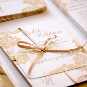 Csipkés Esküvői meghívó szett 3 darabos+boírték, Elegáns meghívó, Vintage Esküvő, Arany, Csipke meghívó, Romantikus , Esküvő, Meghívó, ültetőkártya, köszönőajándék, Esküvői dekoráció, Naptár, képeslap, album, Otthon & lakás, Fotó, grafika, rajz, illusztráció, Papírművészet, Minőségi Virágos Esküvői  Meghívó\n\n* MEGHÍVÓ CSOMAG BORÍTÉKKAL:\n- 1.  -Meghívó lap, egy oldalas: kb...., Meska