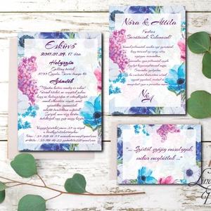 Esküvői meghívó Lila Orgona Virágos, Nyári Virágos Esküvői lap, Orgona virágos meghívó, Lila Esküvő (LindaButtercup) - Meska.hu