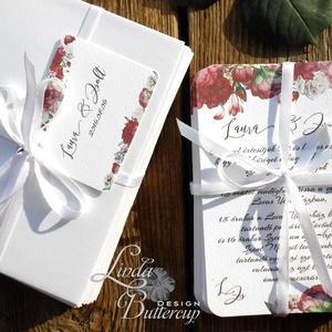 Elegáns Esküvői meghívó, Vintage meghívó, rózsás Esküvői lap, lbordó virágos lap, rózsa meghívó, marsala (LindaButtercup) - Meska.hu