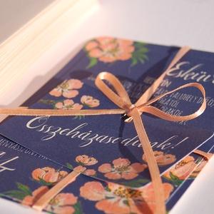 Elegáns Esküvői meghívó, Barack Virág, Tengerkék meghívó, Kék esküvő, Esküvői meghívó, Modern, Nyári Esküvő (LindaButtercup) - Meska.hu