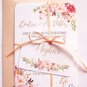 Elegáns, romantikus Esküvői meghívó,Nyári Esküvő, Arany meghívó, Barack virág, virágos meghívó, Modern, Rózsás, Rózsa (LindaButtercup) - Meska.hu