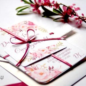 Mályva Esküvői meghívó, Rózsás meghívó, rózsa, elegáns, romantikus, virágos meghívó, vízfesték meghívó, nyári esküvő, Esküvő, Meghívó, Meghívó & Kártya, Fotó, grafika, rajz, illusztráció, Papírművészet, Meska