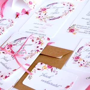 Vintage Esküvői meghívó, Romantikus, elegáns meghívó, marsala, Barack virág, virágos meghívó, Modern, mezei, rétivirág,  (LindaButtercup) - Meska.hu