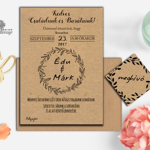 Barna, natúr meghívó, újrahasznosított papír meghívó, barna kraft papír, kraft meghívó, egyszerű meghívó, natúr esküvő (LindaButtercup) - Meska.hu