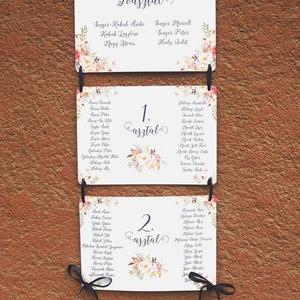 Ültetési rend, Esküvői Ültetésrend, romantikus ,rózsás, rózsa, kék, tábla, Esküvő ültető kártya, Dekor, elegáns (LindaButtercup) - Meska.hu