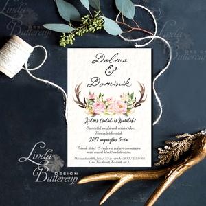 Agancsos Meghívó, Rusztikus esküvői meghívó, Bohó, natur meghívó, vadász, ősz, zöld leveles, levél, natúr, agancs, őszi (LindaButtercup) - Meska.hu