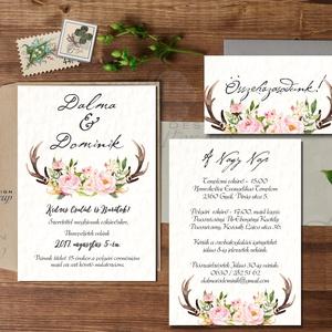 Őszi Esküvői meghívó, Agancsos meghívó, Rusztikus meghívó, erdei, vadász, Bohém, zöld, natúr, erdő, agancs, ősz (LindaButtercup) - Meska.hu