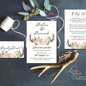 Őszi Esküvői meghívó, Agancsos meghívó, Rusztikus meghívó, erdei, vadász, Bohém, zöld, natúr, erdő, agancs, ősz, Esküvő, Meghívó, Meghívó & Kártya, Minőségi Virágos Esküvői  Meghívó  * MEGHÍVÓ CSOMAG BORÍTÉKKAL: - 1.  -Meghívó lap, egy oldalas: kb...., Meska