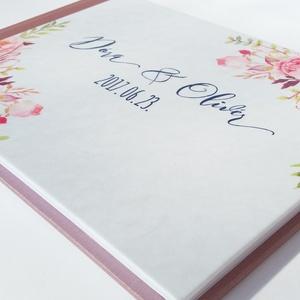 Rózsás Emlékkönyv, Esküvői Vendéggkönyv, pink, rózsaszín,  Virágos könyv, rózsa, kék, navy, Esküvő elegáns könyv, napló (LindaButtercup) - Meska.hu