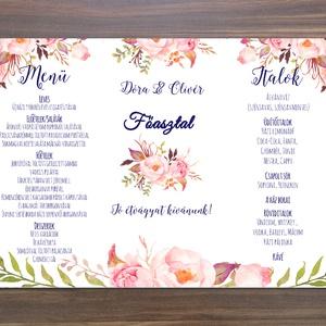 Esküvői Virágos Menü, Rózsás Virágos Esküvői lap, Esküvő Képeslap, rózsaszín meghívó, Party menü, rózsaszín, kék, pink (LindaButtercup) - Meska.hu