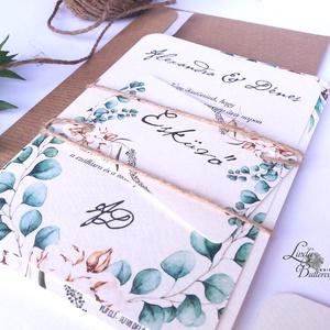 Őszi Esküvői meghívó, Rusztikus meghívó, Greenery, Natúr meghívó, erdei, zöld levelek, levél, természetközeli, ősz, Esküvő, Meghívó, Meghívó & Kártya, Minőségi Virágos Esküvői  Meghívó  * MEGHÍVÓ CSOMAG BORÍTÉKKAL: - 1.  -Meghívó lap, egy oldalas: kb...., Meska