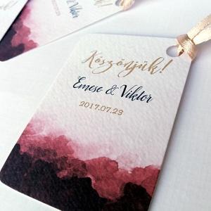 Köszönet kártya, ajándékkísérő, köszönet ajándék, esküvői kísérőkártya, köszönjük, Bordó, Burgundy, férfias, Arany, (LindaButtercup) - Meska.hu