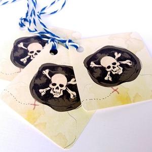 Kalózos party ajándékkísérő kártya, Köszönet kártya, ajándékkísérő, koponya, hajó, buli, party, pirate, tengerész (LindaButtercup) - Meska.hu