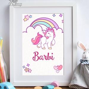 Babaszoba Falikép, unicorn, póni, ló, Gyerekszoba kép, dekoráció, baba, baby, cuki, névre szóló, név, kislány, lány, Gyerek & játék, Gyerekszoba, Baba-mama kellék, Baba falikép, Festészet, Fotó, grafika, rajz, illusztráció, A/4-es Névre Szóló Babaszoba Dekoráció\n\nPRINT: Keret  nélkül.\n\nVásárláskor kérlek add meg a kívánt n..., Meska