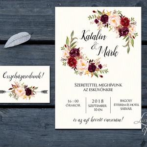 Bordó meghívó, őszirózsa, őszi, Erdei Esküvői meghívó, Natúr Esküvő, Rusztikus meghívó, virágos, vad virág, Bohém, rózsa (LindaButtercup) - Meska.hu