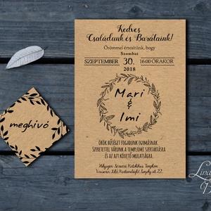 Natúr meghívó, Barna, újrahasznosított papír, barna kraft papír, craft, egyszerű meghívó, natúr esküvő, rusztikus,spárga (LindaButtercup) - Meska.hu