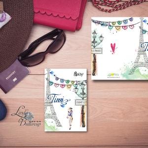 Párizs Képeslap, üdvözlőlap, divatos, női, Fashion, eiffeil torony, nő Képeslap,Tavasz, virágos, divat, francia, nőies (LindaButtercup) - Meska.hu