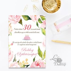 Szülinapi Képeslap, 30. születésnap, Egyedi, személyre szóló képeslap, névre szóló lap, idézet, virág, üdvözlőlap, Otthon & Lakás, Képeslap & Levélpapír, Papír írószer, A/6-os méretű Egyedi Üdvözlőlap, Személyre szóló felirattal kívül, belül üres a saját szövegednek.  ..., Meska