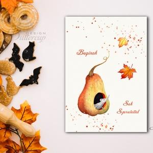 Halloween Képeslap, Halloween Üdvözlőlap, őszi, ősz, tök, narancs, cica, lap, pók, egér, egérke, pumpkin, mouse, levél, Képeslap & Levélpapír, Papír írószer, Otthon & Lakás, Fotó, grafika, rajz, illusztráció, Mindenmás, A/6-os méretű Halloween képeslap, borítékkal.\n\n\nA6-os kinyitható üdvözlőlap, belül üres a saját kívá..., Meska