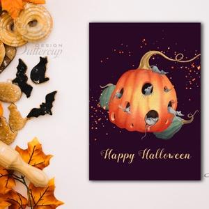 Halloween Képeslap, Halloween Üdvözlőlap, őszi, ősz, tök, narancs, cica, lap, pók, egér, egérke, pumpkin, mouse, levél - halloween - halloweeni dekoráció - Meska.hu